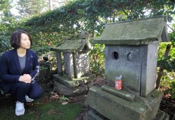 御前神社の境内にある二つの祠。どちらが相葉神社かは分からないという=1月30日、福井県あわら市宮前