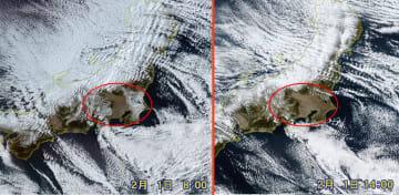 1日午前8時と午後2時の衛星画像 関東西部の山地と千葉、茨城南部周辺に見られた積雪は午後には消えていた。