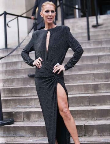 A Very Skinny Celine Dion Shows Of Leg At Alexandre Vauthier Show In Paris With Pee Munoz