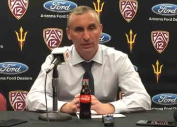 Arizona State basketball coach Bobby Hurley hit in face with ball