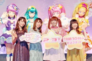 テレビアニメ「スター☆トゥインクルプリキュア」に出演する(左から)小松未可子さん、小原好美さん、成瀬瑛美さん、安野希世乃さん