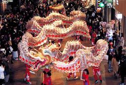 迫力ある音楽とともに龍龍が舞い、買い物客らが見入った=神戸市中央区、三宮センター街