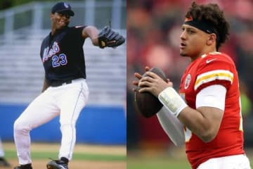 MLB時代のパット・マホームズ(左)NFLのカンザスシティ・チーフで活躍する息子のパトリック・マホームズ【写真:Getty Images】