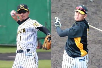 阪神・鳥谷敬(左)と福留孝介【写真:荒川祐史】