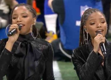 Chloe x Halle perform at the Super Bowl