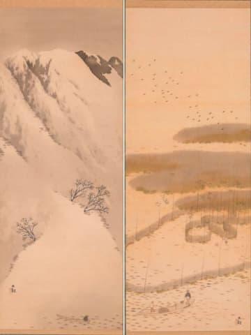 横山大観「比良之冬」(左)と「魞之秋」(いずれも1918年ごろ)