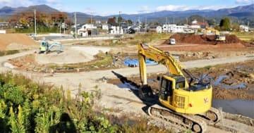 工事が行われている道の駅建設現場=福井県勝山市荒土町松ケ崎