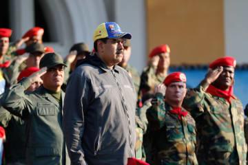 ベネズエラ北部マラカイで開かれた行事に出席したマドゥロ大統領=4日(ロイター=共同)