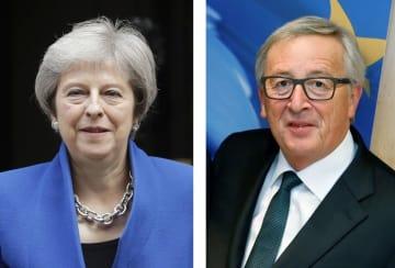 英国のメイ首相(AP=共同)、ユンケル欧州委員長(ロイター=共同)