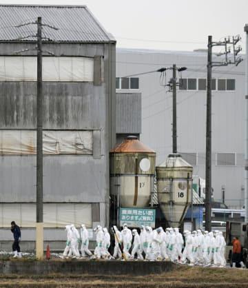 豚コレラの陽性反応が出た愛知県豊田市の養豚場へ防疫作業のために集まった防護服姿の作業員=6日午前9時29分