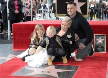 Pink Honored With Star On Hollywood Walk Of Fame With Husband Carey Hart & Kids By Her Side