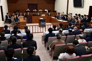 松橋事件の再審初公判が開かれた熊本地裁101号法廷=8日午後、熊本市中央区(小野宏明)