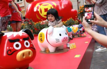 香港の街角に縁起の良い「吉祥ブタ」が登場