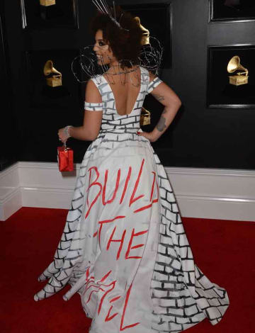 Joy Villa Wears 'Build The Wall' Gown To Grammy Awards [PHOTOS]
