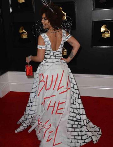 Joy Villa Wears 'Build The Wall' Gown To Grammy Awards [PHOTOS]