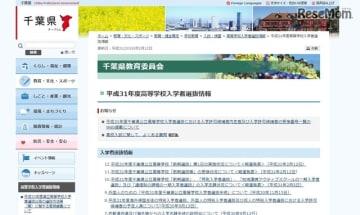 千葉県教育委員会「平成31年度高等学校入学者選抜情報」