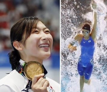 競泳の女子50メートル自由形で優勝し、表彰式で笑顔の池江璃花子選手=2018年8月、ジャカルタ・アジア大会(共同)
