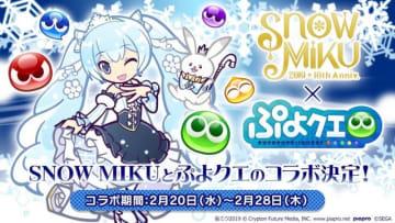 『ぷよぷよ!!クエスト』と北海道を応援する「SNOW MIKU」のコラボが2月20日から開催!『ぷよクエ』チーム描き下ろしのミクが登場