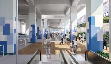 ららぽーとTOKYO―BAYのリニューアルに合わせて、JR南船橋駅からの動線となる高架下に新設される「動く歩道」の完成イメージ(三井不動産提供)