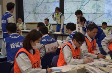 県と笠間市が関係機関と合同で実施した図上型防災訓練=県庁
