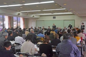 小田原市議選の事前説明会=13日午前、市役所大会議室