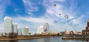 みなとみらい21地区近くの上空を行き来するロープウエーのイメージ図(横浜市提供)