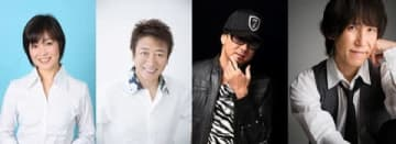 「声優紅白歌合戦」に出演する(左から)日?のり子さん、井上和彦さん、黒田崇矢さん、平川大輔さん