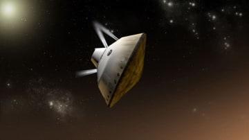逆噴射しながら火星への上陸を試みる有人宇宙船の想像図 (c) NASA