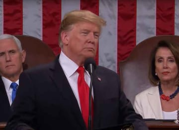 Donald Trump, Mike Pence, and Nancy Pelosi during Trump's 2019 State of the Union