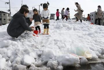 長野県白馬村から届いた雪で遊ぶ親子ら=16日午後、和歌山県那智勝浦町
