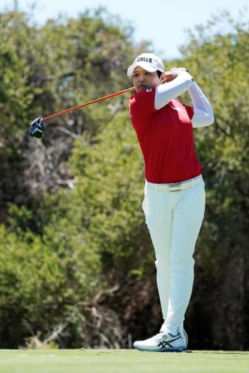米女子ゴルフのISPSハンダ女子オーストラリア・オープン、2位につけた野村敏京=16日、グランジ(ゲッティ=共同)