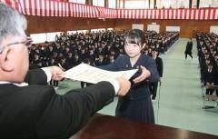 県内トップ 岡山白陵高で卒業式