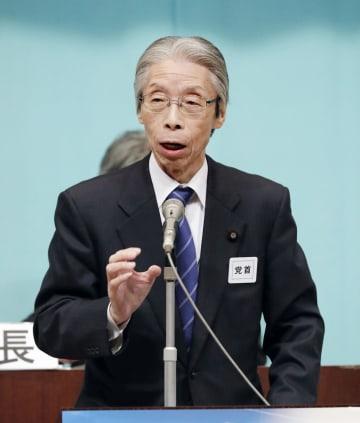 社民党の全国代表者会議であいさつする又市党首=17日午後、東京都内