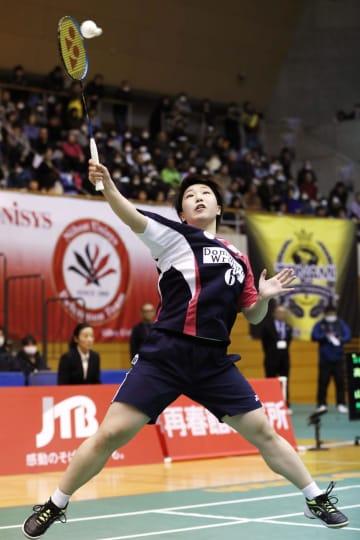 女子決勝で日本ユニシスに勝利した再春館製薬所の山口茜=サイデン化学アリーナ