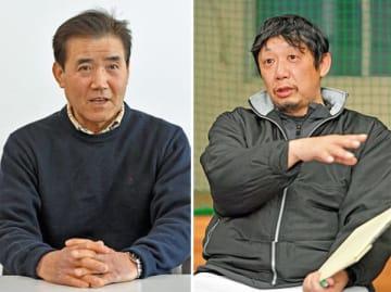 高校野球の球数制限について語る(左から)慎重派の林孝夫さんと賛成派の川尻哲郎さん