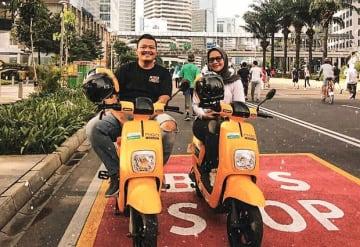 ジャカルタでは若者を中心に電気バイク「ミゴ」の利用者が増えている(公式ツイッターより)