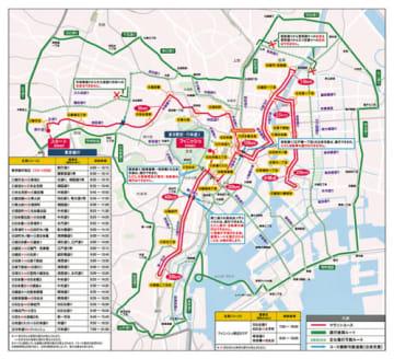 東京マラソン/3月3日の交通規制、各区ごとに詳細地図公表