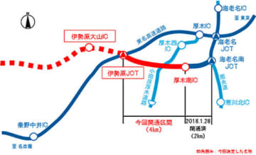 新東名高速道路/厚木南IC~伊勢原JCTが3月17日15時に開通