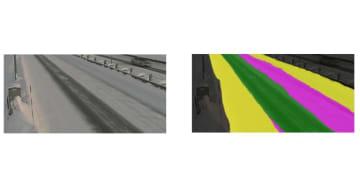 入力画像(左)と独自AIモデルによる認識結果(右)。黄色:積雪42.0%、ピンク色:圧雪 25.7%、緑色:黒シャーベット 32.3%となっている。(画像: ウェザーニューズの発表資料より)