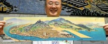 旧若松市の「鳥瞰図」人気 区役所が商品化「魅力再発見を」 [福岡県]