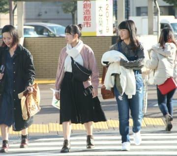春一番が吹き、県内は気温が上がった。大分市中心部では上着を抱えて歩く歩行者の姿も=19日午後