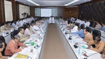ミャンマーで「一帯一路」を推進するための実行委員会が初会合を開いた=18日、ネピドー(情報省提供)