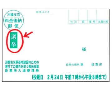 沖縄市選挙管理委員会事務局が誤って印刷したはがき。左横に「選挙」と記されているき(市のホームページより)