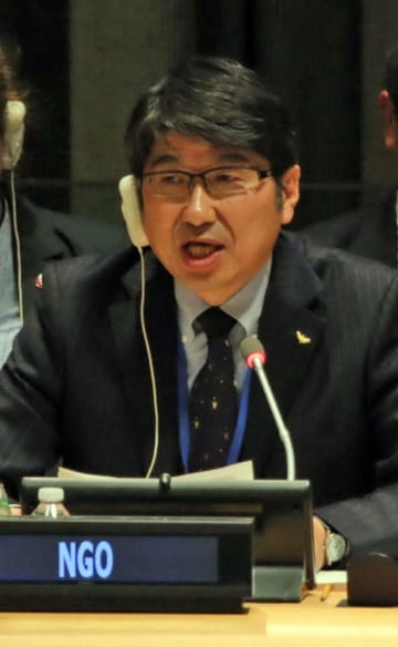 NPT再検討会議で核兵器のない世界の実現を訴える田上富久長崎市長=米ニューヨークの国連本部