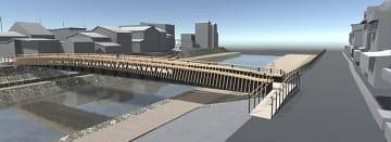 宮川朝市(右側)と本町(左側)をつなぐ宮川人道橋のイメージ図。手前が宮川上流。