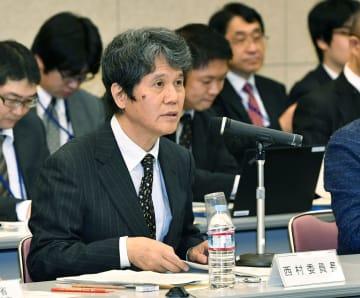 統計委員会の会合に臨む西村清彦委員長=20日午前、東京都新宿区