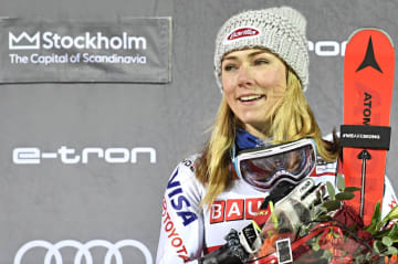 アルペンスキーW杯の女子回転で今季14勝目を挙げたミカエラ・シフリン=19日、ストックホルム(ゲッティ=共同)