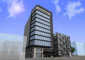 新しい繊協ビルのイメージ。ビルの右側が立体駐車場で、ホテルはビル南側に誘致する計画(福井県繊協ビル同業会提供)