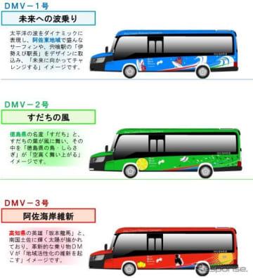 阿佐海岸鉄道DMVの車体デザイン3種。今回は青が公開される。