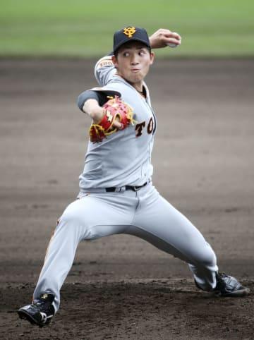 韓国プロ野球のKIAとの練習試合に先発した巨人・高橋=那覇